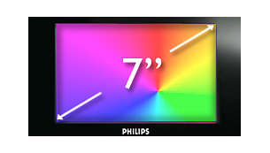 "7"" colour display for easy viewing of clock, radio and calendar"