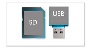 USB and SD card slots for photos, music and video clips
