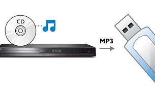透過單鍵 MP3 製作將 CD 內容直接轉移到 USB 棒