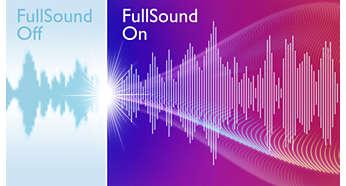 FullSound™ para dar mais vida a músicas em MP3