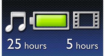 최대 음악 25시간 또는 비디오 5시간 재생