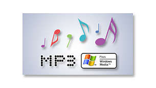 Enjoy WMA and MP3 playback