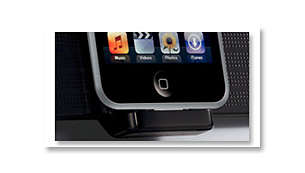 Tilting dock for iPod recharge and music playback
