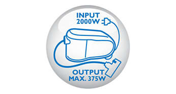 2000-ватов двигател, генериращ макс. 375 вата засмукваща мощност