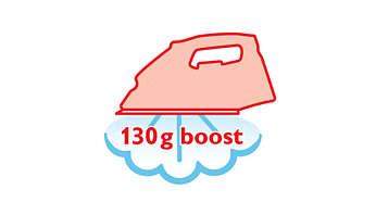 Dampfstoß von 130g glättet ohne Mühe auch hartnäckige Falten