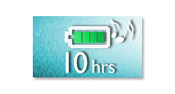 Up to 10-hour MP3 and WMA music playback* plus FM radio