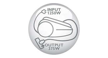Nieuwe HD-motor van 1250 watt genereert max. 375 watt zuigkracht