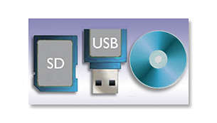 View photos directly from memory cards, USB, DVDs and CDs