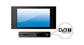 Ingebouwde digitale tuner voor DVB-T-ontvangst van radio en TV