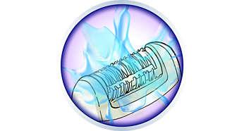A tökéletes higiénia és a könnyű tisztítás érdekében az epilálófej lemosható.