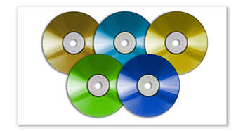 Spill av DVD, DivX® Ultra, MP3/WMA-CD, CD og CD-RW