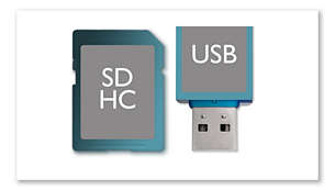 USB Direct and SDHC card slots for music and video playback
