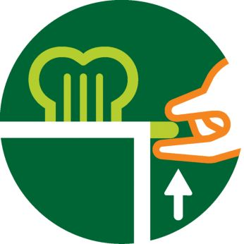 Funkcija visokega dviga za varno odstranjevanje manjših kosov kruha