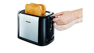 Az extra kenyérkiemelővel a legkisebb pirítósokat is biztonságosan kiemelheti.
