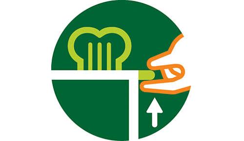 Upplyftningsfunktion för att säkert ta ut mindre brödbitar