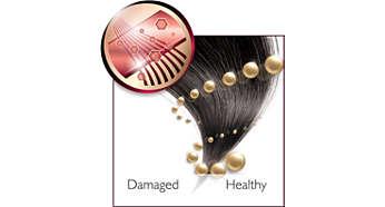 Jonų kondensacija žvilgiems, glotniems plaukams.