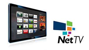 Philipsova storitev Net TV vam prek brezžične povezave Wi-Fi zagotovi dostop do priljubljenih spletnih storitev na vašem televizorju