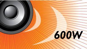 Võimsus 600 W RMS loob suurepärase heli filmide ja muusika jaoks