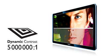 Dynamiczny kontrast 5000000:1 zapewnia maksymalnie jasny obraz