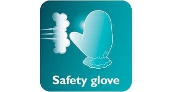 มีถุงมือเพื่อการป้องกันเป็นพิเศษระหว่างใช้งาน