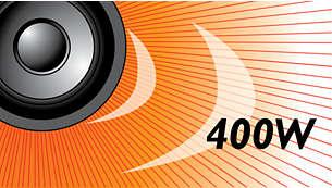 Moc muzyczna 400W RMS zapewnia doskonały dźwięk w przypadku filmów i muzyki