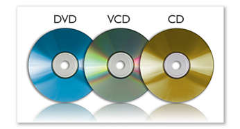 Compatible DVD, DVD+/-R, DVD+/-RW, (S)VCD, CD