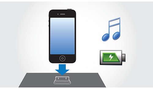 Uw iPod/iPhone gelijktijdig afspelen en opladen