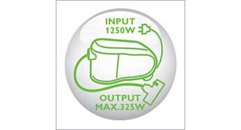 Nieuwe HD-motor van 1250 watt genereert max. 325 watt zuigkracht