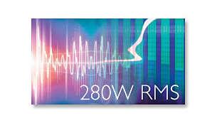 Potência total de 280 W RMS