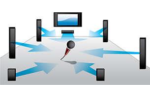 Smart EQ met microfoon optimaliseert het geluid voor uw kamer