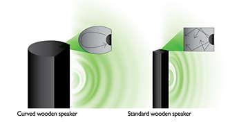 Profilowane, wytwarzane ręcznie, drewniane głośniki zapewniają naturalny dźwięk