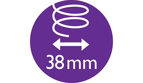 Verwarmde borstel van 38 mm voor gladder haar