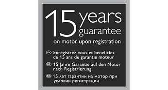 5 jaar productgarantie en 15 jaar garantie op de motor