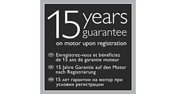 15-year guarantee on the motor