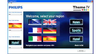 Theme TV for easy location of guests' own national channels