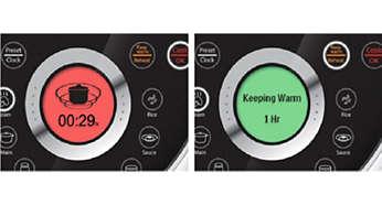 LCD com retroiluminação colorida e texto e animações