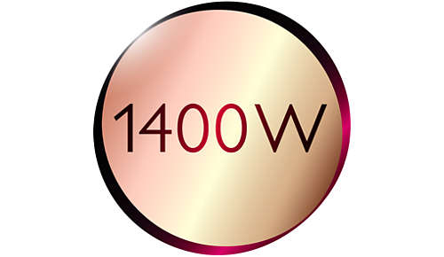 1400W för snabb och skonsam hårtorkning