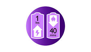 Up to 40 minutes wirefree epilation, quick 1-hour recharge
