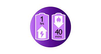 Zapewnia do 40 minut bezprzewodowej depilacji, szybkie ładowanie w 1 godzinę