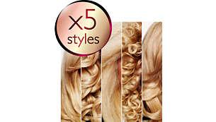 5 fryzur: proste włosy, duże loki, drobne loczki, włosy karbowane i fale