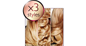 3 styles: straight, big curls and waves