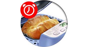 Timer med op til 13 timers indstilling, så du kan vågne op til friskbagt brød