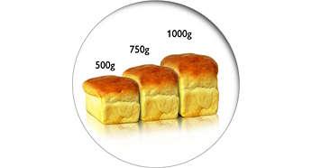 Bak brød i tre størrelser, opptil 1kg