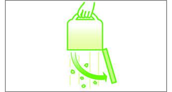 Staubbehälter mit Entleerungssystem per Knopfdruck