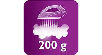 Acione 200g de vapor extra para eliminar facilmente o amarrotado das roupas