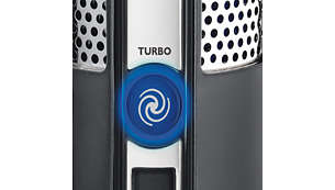 Turbo power boost button boosts cutting and fan speed