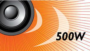 Moc muzyczna 500W RMS zapewnia doskonały dźwięk w przypadku filmów i muzyki