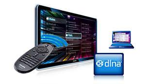 DLNA PC-netwerkaansluiting om door de inhoud van uw PC en thuisnetwerk te bladeren