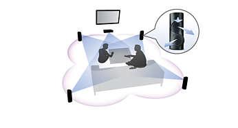 Kątowe głośniki 3D zapewniają równomierną emisję dźwięku w całym pomieszczeniu