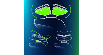 Das Philips SensoTouch GyroFlex 3D-System passt sich den Konturen von Gesicht und Hals nahtlos an.